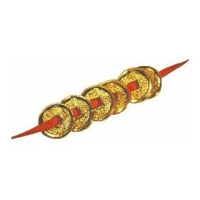 6 Monnaie Feng-Shui - dorées or fin.